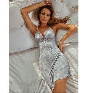 Lace Detail Grey Cami Night Slip Dress